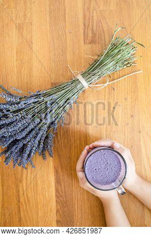 Purple Lavender Latte Tea Or Coffee. Hot Healthy Drink