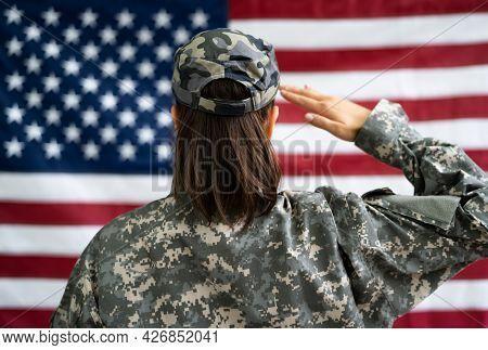 Us Army Military Soldier Veteran Portrait Against Flag