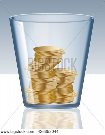 Gold Coins Are Seen Inside A Glass Tumbler In A 3-d Illustration About Saving Money.