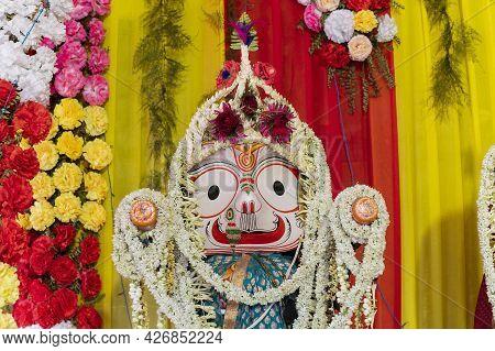 Idols Of God Balaram. Lord Balaram , Brother Of Lord Jagannath Is Being Worshipped With Garlands For