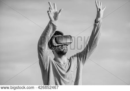Engineering Project. Augmented Reality. Virtual Reality. Cyber Space. Game Online. Man Wear Wireless
