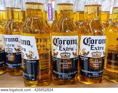 Bottles Of Corona Extra Beer One Of The Top-selling Beers Worldwide. Illustrative Editorial Photosho