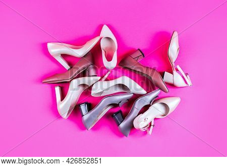 Beauty And Fashion Concept. Fashionable Women Shoes Isolated On Pink Background. View From Above. Sh