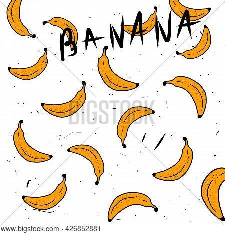 Seamless Background With Yellow Bananas Vector. Yellow Banana Bunch Illustration