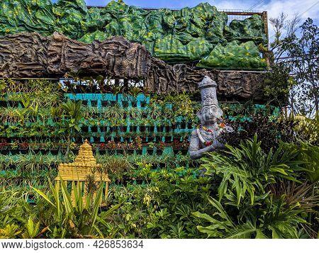 Beautiful Lord Sri Venkateshwara Temple And Hanuman Idols Mural Work Displayed For Tourist Attractio