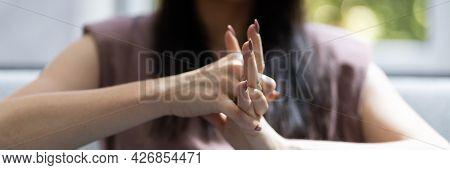 Hand Knuckle Finger Joint Crack. Fingers Snap