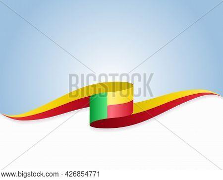 Benin Flag Wavy Abstract Background. Vector Illustration.