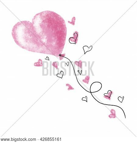 Watercolor Pink Balloon In The Shape Of A Heart. Hand Drawn Illustration Painted By Brush And Aquare