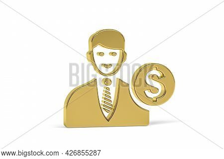Golden 3d Economist Icon Isolated On White Background - 3d Render