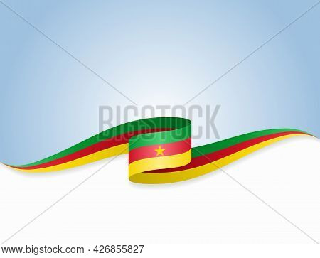 Cameroon Flag Wavy Abstract Background. Vector Illustration.