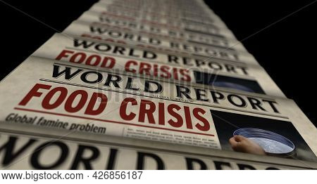 Food Crisis News, Famine And Hunger Disaster Retro Newspaper Illustration