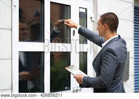 Bailiff Debt Collector Man Knocking Front Door