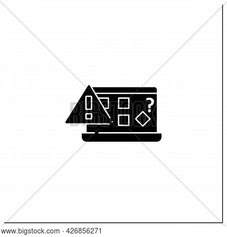 Computer Notification Glyph Icon. Unfamiliar Icons Displayed On Desktop. Incorrect Signs. Home Scree