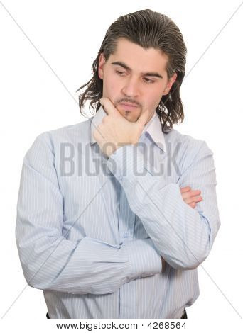 Young Man Speculates Isolated