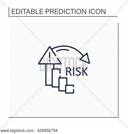 Reducing Risk Line Icon. Reducing Failure Rate. High Quality Production. Warning Sign. Statistic.pre