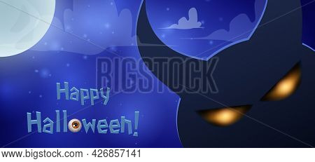 Blue Shining Halloween Card With Silhouette Of Dark Horned Demon And Moon