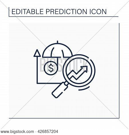 Insurance Predictive Analytics Line Icon.collating Metrics, Real-time Data About Customers. Business