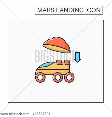 Landing On Surface Color Icon. Landing Rover On Planet. Research Uninhabited Land. Mars Landing Conc
