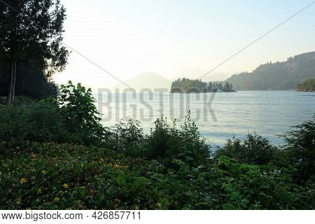 A Beautiful Breathtaking Seascape View During Sundown With Flowers In The Foreground, Calm Still Oce