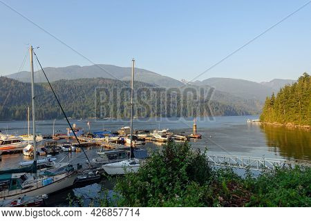 Egmont, British Columbia, Canada - June 29th, 2021: A Marina Full Of Boats Surrounded By A Beautiful