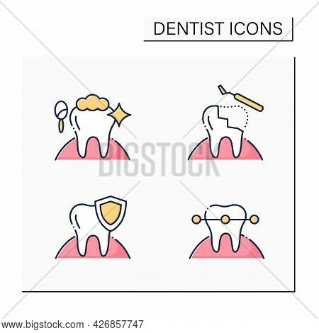 Dentist Color Icons Set. Cosmetic Dentistry Procedures, Restorative Dentistry, Tooth Braces. Healthc