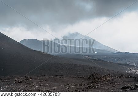 Crater Of Etna,sicily,italy.adventure Outdoor Activity.excursion On Summit Of Volcano.parco Dell'etn