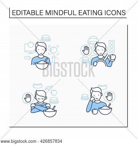 Mindful Eating Line Icons Set.conscious, Intuitive Nutrition. Eating In Car.overeating.eat Through B