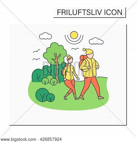 Friluftsliv Color Icon. Family Hiking. Man And Woman Walking In Park. Nice Weather. Nature Landscape