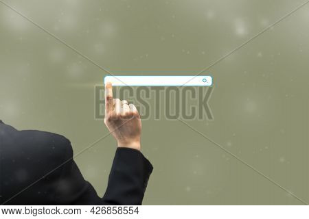 Defocused View Of Businessman Hand Touching Blank Search Bar. Business And Technology Concept, Web O
