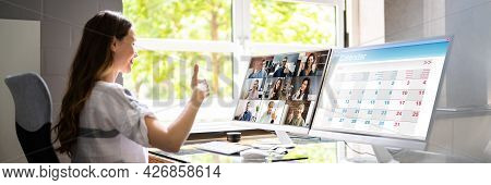 Online Training Video Conferencing Business Webinar On Computer