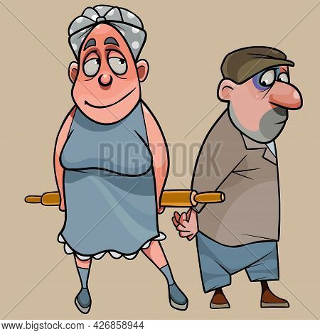 Funny Cartoon Wife With Rolling Pin Stands Next To Frightened Husband
