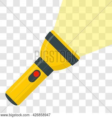 Flashlight Icon Flat Design Yellow Portable Torch Vector Icon Illustration On Transparent Background