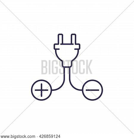 Electric Plug And Plus, Minus Signs, Line Icon