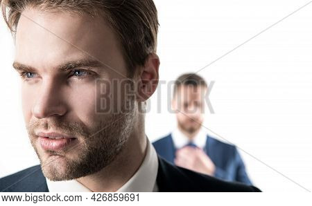 Good-looking Person. Serious Face Of Young Businessman. Professional Man With Unshaven Face