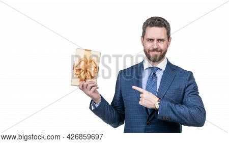 Smiling Man With Business Reward. Occasion Greeting. Businessman Showing Gift Box.