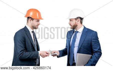 Confident Businesspeople Men In Suit And Safety Helmet Giving Money And Hold Computer, Bribe