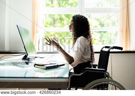 Disabled Person At Work Doing Yoga Meditation Exercise