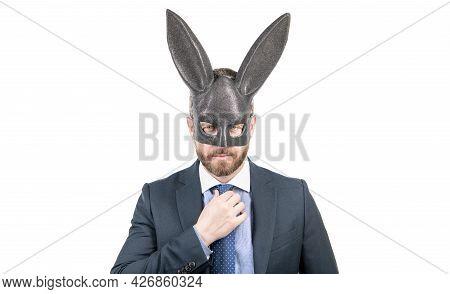 Bunny Man In Rabbit Mask. Fetish. Businessman In Sexy Bdsm Mask. Playboy. Bdsm Games