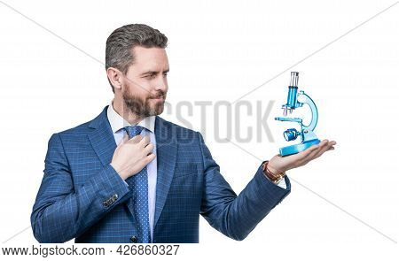 Successful Man Scientist Suggest Modern Scope. Science Entrepreneur In Business.