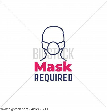 Mask Required Sign With Line Icon, Vector