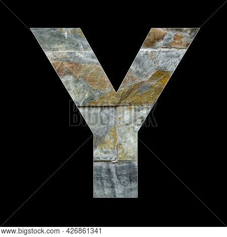 Rustic Stone Letter Y - Black Background