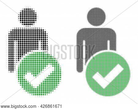 Pixelated Halftone Valid Man Figure Icon. Vector Halftone Concept Of Valid Man Figure Icon Formed Of