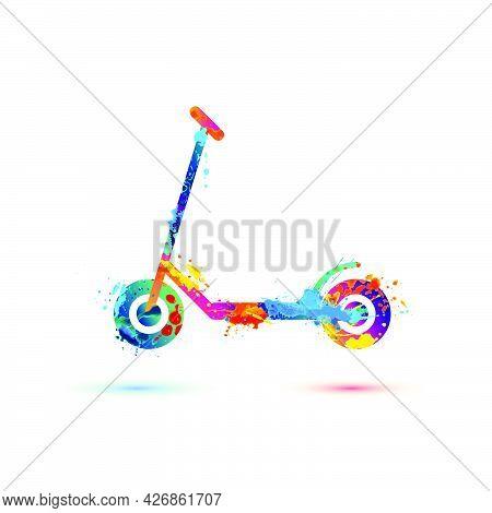 Scooter Vector Symbol Of Watercolor Splash Pait