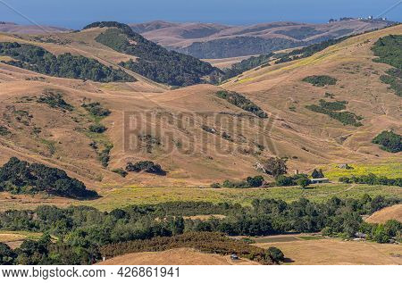 Cambria, Ca, Usa - June 8, 2021: Landscape With Farm In Valley Among Dry Ranching Hills With Foreste