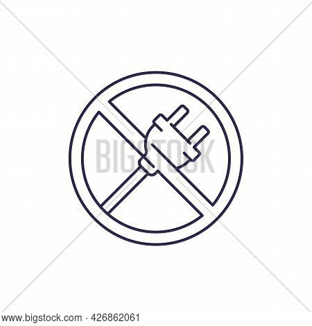Electrical Plug, Do Not Connect Line Icon