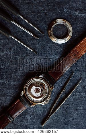Parts Of Mechanical Wristwatches With Flywheel And Automatic Sub-plant With Open Rear Cover, Watch R