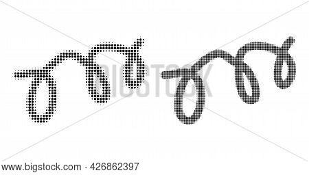 Dot Halftone Spiral Microbe Icon. Vector Halftone Composition Of Spiral Microbe Icon Done Of Circle