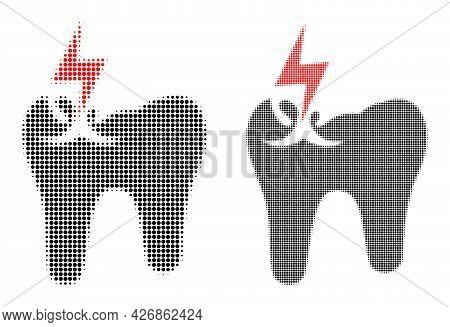 Pixelated Halftone Tooth Crash Icon. Vector Halftone Mosaic Of Tooth Crash Icon Constructed Of Spher