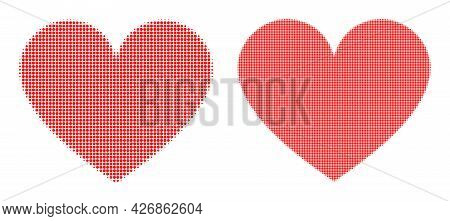 Pixel Halftone Love Heart Icon. Vector Halftone Composition Of Love Heart Icon Designed Of Spheric I
