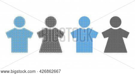 Dot Halftone People Couple Icon. Vector Halftone Collage Of People Couple Icon Composed Of Circle El
